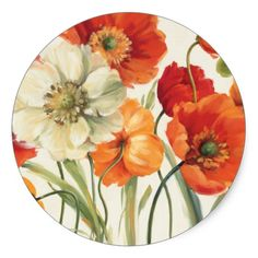 Shop A Melody of Poppies Square Sticker created by wildapple.