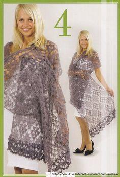 Como preparar el esqueleto del paraguas y cumplir el refuerzo de la tela de encajes Crochet Shawls And Wraps, Knitted Shawls, Crochet Scarves, Crochet Clothes, Lace Shawls, Crochet Shawl Diagram, Pattern Fashion, Crochet Lace, Clothes For Women