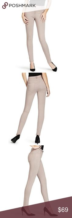 "new | Marciano Guess Penza High Waist Skinny Pant Looks like a jean, fits like a legging. The ponte knit fabric stretches for a custom curve-hugging fit without stretching out. Ponte knit skinny pant. High-rise. Slim fit. Mock pockets at front, two patch pockets at back. Belt loops. Gunmetal-tone hardware. Zipper closures at inner ankles.   • sz 6 • color: palm bark • style: penza • 28"" waist, 10.5"" front rise, 13.5"" back rise, 28"" inseam, 10"" leg opening • 67% rayon, 30% nylon, 3% spandex •…"