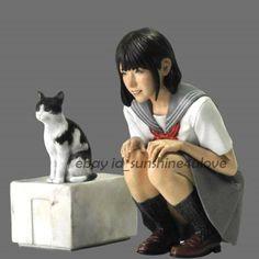 Unpainted Resin Figure Japanese Girl With Cat Model Garage Kit Statue New Garage Kits, Japan Girl, Figure Model, Japanese Beauty, Box Art, Plastic Models, Statue, Cats, Model Kits