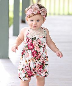 8b8bc8788 Take a look at this Whitney Elizabeth White & Pink Floral Lace-Accent  Romper