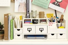 Junk drawer no more! We used our Original Home Office desk organizer to organize our junk drawer once and for all! This hardworking piece keeps everything stowed away and tidy, from pens to paper clips to mail!