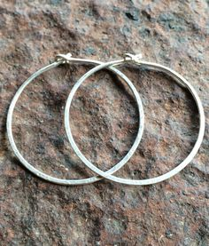 Hand Hammered Sterling Hoops by ZammaDesigns on Etsy, $30.00