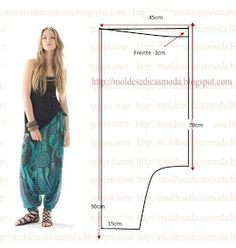 A proposta de hoje recaiu sobre este molde de calça larga estampada no tamanho 38 tabelas (Portuguesa) e 40 (Brasileira). Sewing Dress, Sewing Pants, Dress Sewing Patterns, Sewing Clothes, Fashion Sewing, Diy Fashion, Ideias Fashion, Diy Clothes Patterns, Harem Pants Pattern