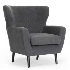 Moretti Dark Grey Linen Modern Club Chair