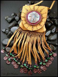 leather and semi-precious stone - amulet medicine bag
