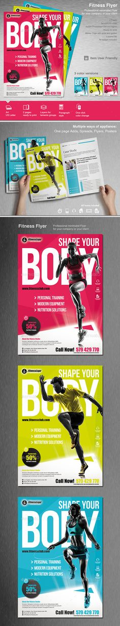 Fitness Flyer Flyer template, Brochures and Adobe photoshop - fitness flyer template