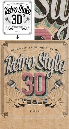 Retro Style 3D Tools - Photoshop Actions on Typography Served