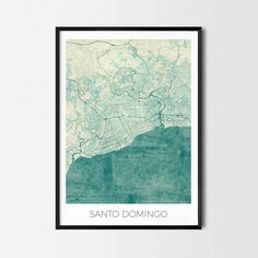 Santo Domingo art posters and prints of your favorite city. Unique design of Vancouver map. Perfect for your house and office or as a gift for friend.