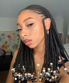 Find out more about tribal braids with beads in the link below including cost, duration and type of braiding hair used. # fulani Braids with beads A round up of top braided hairstyles for black women 2019 including protective styles & conrows. Box Braids Hairstyles, Rock Hairstyles, Braided Hairstyles For Black Women, My Hairstyle, African Hairstyles, Natural Braided Hairstyles, Black Hairstyle, Gorgeous Hairstyles, School Hairstyles