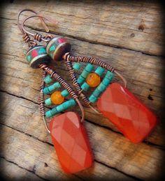 really interesting design! Red Jasper, Turquoise and Tibetan Prayer Bead Earrings.