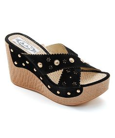 Loving this Black Stud Cutout Wedge on #zulily! #zulilyfinds