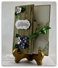 Be Creative with Nicole: Scallop Tag Closure Card This sympathy card uses the Scallop Tag Topper Punch for the special closure.  The stamps featured are Petite Petals and Hardwood.