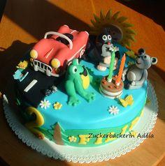 Der Maulwurf (Krtek) und seine Freunde feiern mit Filip Geburtstag :-) Torte