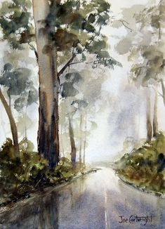 Watercolour painting, Wet and Misty day, Mt Hotham, Victoria