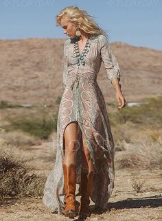 Dresses - $36.99 - Polyester Others 3/4 Sleeves Maxi Casual Dresses (1955100308)