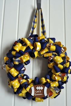 Football Wreath  Am making a wreath to use the Longhorn ornament my parents gave me for Xmas that will not be on my tree. Ever.