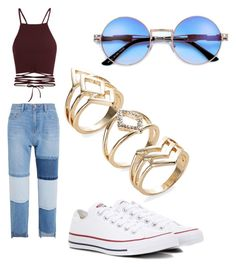 """Maroon"" by shiloh-wolfork ❤ liked on Polyvore featuring Steve J & Yoni P and Converse"