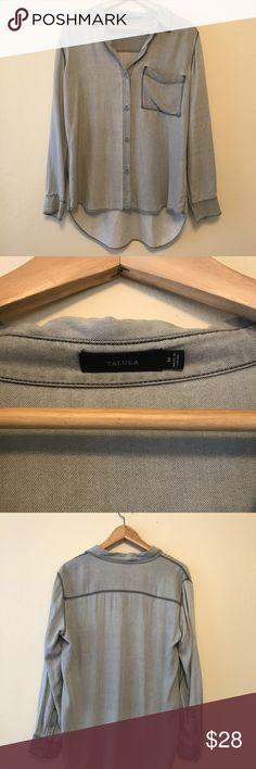 Talula / Aritzia Gray Buttoned Shirt Talula / Aritzia gray buttoned down shirt. Silky / matte fabric. Size medium. Never worn. Talula Tops Button Down Shirts