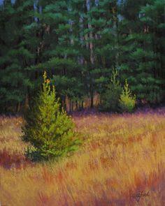 "I love painting pine trees!!  ©2013 Paula Ann Ford, Maple Ridge Pines, Soft Pastels on Ampersand Pastelbord, 10""x8"" #Adirondack"