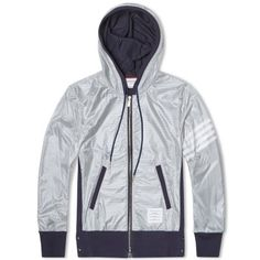 Thom Browne Ripstop Double Layered Hooded Zip Sweat (Navy)