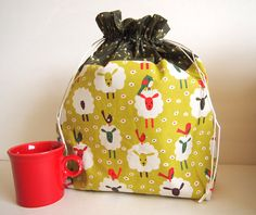Knitting Project Bag EXTRA LARGE  original sheep by PaperOrThreads