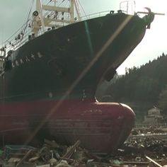 A large ship after the Japan tsunami