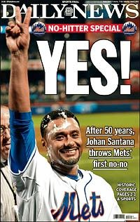 Johan Santana tosses first no-hitter in NY Mets history during 8-0 victory against St. Louis Cardinals at Citi Field - NY Daily News
