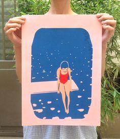 Affiche - Le Plongeoir  création originale sérigraphiée à la main en édition limitée  10 exemplaires numérotés, signés au crayon    3 couleurs :