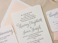 The Verbena  Suite - Modern Letterpress Wedding Invitation Suite, Black, Blush, Pink, Liner, Calligraphy, Script, Swirls, Simple, Classic by DinglewoodDesign on Etsy https://www.etsy.com/listing/199683876/the-verbena-suite-modern-letterpress