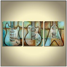 Guitar painting, Rustic Guitar painting, Music wall decor, Musician gift, Guitar Strat Les Paul Flying V, Large painting on canvas by Magier
