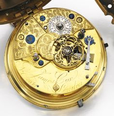 James Cox, London A FINE AND RARE GILT METAL AND SHAGREEN SKIN STRIKING COACH WATCH WITH DATE AND INDEPENDENT JUMPING SECONDS NO 8042, CIRCA 1774 manual winding cylinder clock-watch movement with fusee chain, pierced and engraved balance cock with diamond end stone, blued screws, engraved dust cover, white enamel dial, Roman numerals dial for the hours at 12 o'clock, Arabic numerals minute outer track, three subsidiary dials for date, constant seconds and 1/5th jumping seconds, gilt metal…