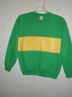 Green sweatshirt with yellow FLEECE stripe by CuriousCallipipper Undertale Shirt, Undertale Cosplay, Yellow Sweater, Cosplay Outfits, Yellow Stripes, Chara, Costumes, Unisex, My Style