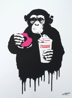 """Fast Food Monkey - Dunkin Donuts - Limited Edition 7 of 8, a Screenprinting on Paper by Thirsty Bstrd from France. It portrays: Animal, relevant to: pink, stencil, DUNKIN, spraypaint, urban art, streetart, chimp, donut, donuts, fast, food, monkey Following the success of the """"Fast Food Monkey"""" stencil series at Lilford Gallery, THIRSTY BSTRD is releasing a new """"screenprint + spray paint"""" artwork series, edition of 8 each. Each artwork has been screen printed in black in Pa..."""