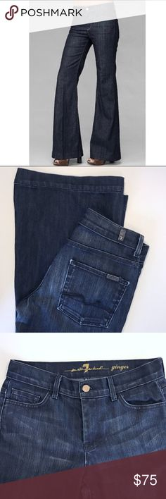 7 For All Mankind Ginger Flare Wide Leg Jeans 28 These 7 for all Mankind jeans are a dark wash.  They feature a flared, wide leg, and are in great condition.  Size 28. 7 For All Mankind Jeans Flare & Wide Leg