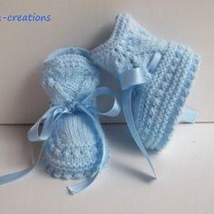 """Chaussons de bébé en laine, tricotés main """"bleu""""  de la naissance à 3 mois. @nana-creations.alittlemarket.com"""