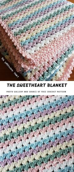 Easy Crochet Afghans Sweetheart Baby Blanket Free Crochet Pattern and Tutorial Easy and Quick Pattern, good for last minute gift, baby shower, beginner project. Crochet Afghans, Motifs Afghans, Crochet Baby Blanket Free Pattern, Crochet For Beginners Blanket, Crochet Motifs, Crochet Stitches Patterns, Crochet Blankets, Ravelry Crochet, Beginner Crochet