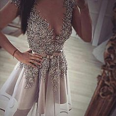 Grey gorgeous v-neck sexy unique formal homecoming prom gown dress