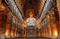Chaitya Griha or prayer hall at Ajanta Caves in cave 29