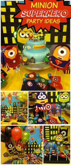 You have to see this party with Minions as superheroes! See more party ideas at CatchMyParty.com!