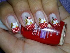 Nude nails with Red French manicure style tips with free hand white polka dots, white flowers and lady bugs 30 Trendy Nail Art 30 Trendy Nail Art Spring Nail Art, Spring Nails, Summer Nails, Fancy Nails, Cute Nails, My Nails, Ladybug Nail Art, Easter Nail Art, Nagel Hacks