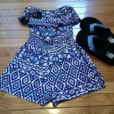 REDUCED ***HOST PICK **SWEET AND SEXY ROMPER Cute strapless romper with Aztec Design. Shorts