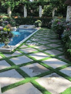 geometric design with grass and stonework
