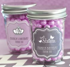 A yummy choice to match your sweet with this personalized sweet 16 or 15 mini mason jars. These adorable mason jars make perfect edible party favors that can be filled with your favorite spices,. Sweet 16 Party Favors, Edible Party Favors, Wedding Party Favors, Wedding Ideas, Wedding Stuff, Wedding Planning, Wedding Candy, Wedding Quotes, Wedding Catering