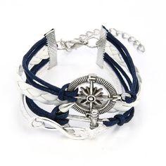 9bdd837409f0 Descubre DIY JewelryWe nuevo plata envejecida infinito pulsera náutico timón  Anchor cuerda de piel color blanco azul brazalete pulsera (con bolsa de  regalo) ...