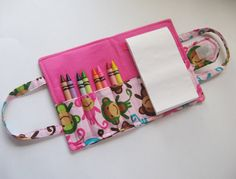 Crayon or coloring Wallet - waiting in restaurants, doctor offices or traveling, slip easily into a purse, diaper bag or backpack, car, plane activities