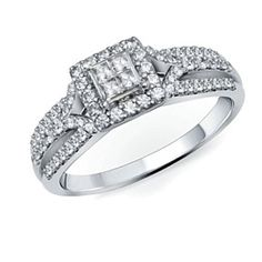 Solid 10K White Gold 3/4 Ct Square Princess-Cut D/VVS1 Frame Three Row Ring by JewelryHub on Opensky