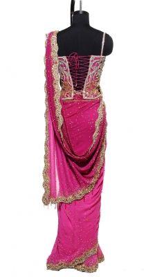 scalloped edge saree with corset top