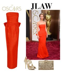 """JLAW oscars red Dior"" by thebetterhalftbh ❤ liked on Polyvore featuring Christian Dior, Oscar de la Renta and Element"