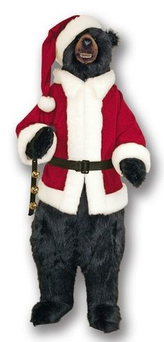 "58"" Standing Black Bear Christmas Santa Suit Stuffed"